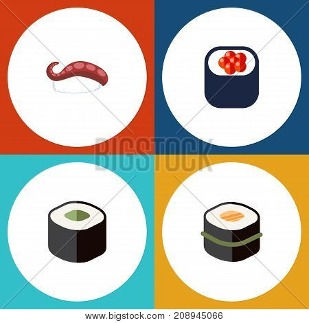 Flat Icon Salmon Set Of Eating, Sashimi, Sushi And Other Vector Objects