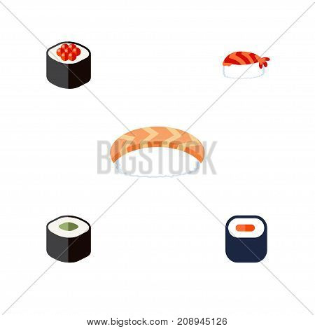 Flat Icon Maki Set Of Seafood, Maki, Gourmet And Other Vector Objects