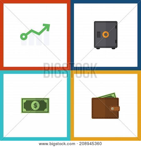 Flat Icon Incoming Set Of Strongbox, Greenback, Growth And Other Vector Objects