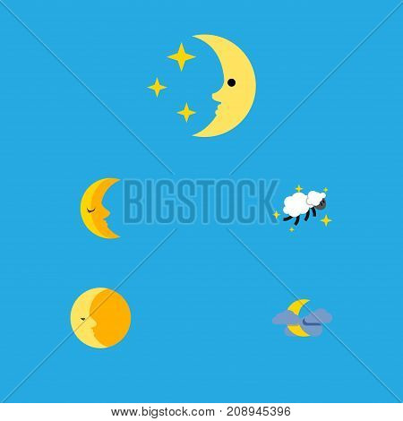 Flat Icon Midnight Set Of Midnight, Lunar, Moon And Other Vector Objects
