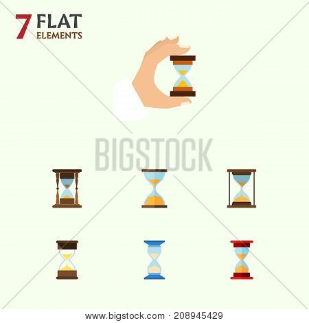 Flat Icon Timer Set Of Sand Timer, Sandglass, Clock Vector Objects