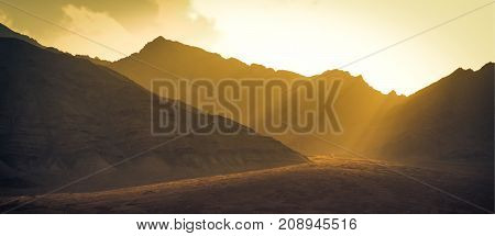 Landscape mountains with sunlight before sunset in Leh ladakh India
