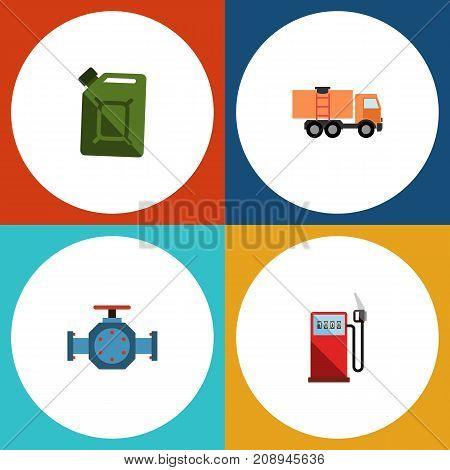 Flat Icon Fuel Set Of Fuel Canister, Flange, Van And Other Vector Objects