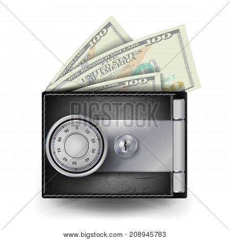 Classic Leather Wallet Vector. Locked With Combination Code Lock. Finance Secure Concept. Isolated On White Background Illustration