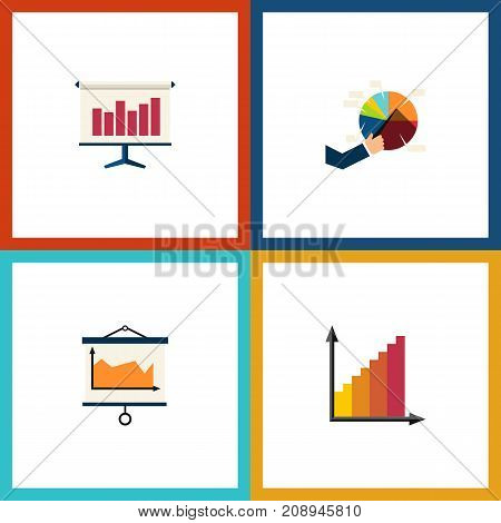 Flat Icon Chart Set Of Segment, Monitoring, Graph And Other Vector Objects