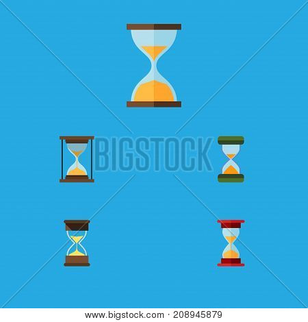 Flat Icon Hourglass Set Of Hourglass, Loading, Sand Timer Vector Objects