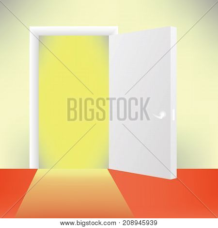 White Open Wood Door and Red Floor. Rays of Yellow Light Penetrates Through Opened Door