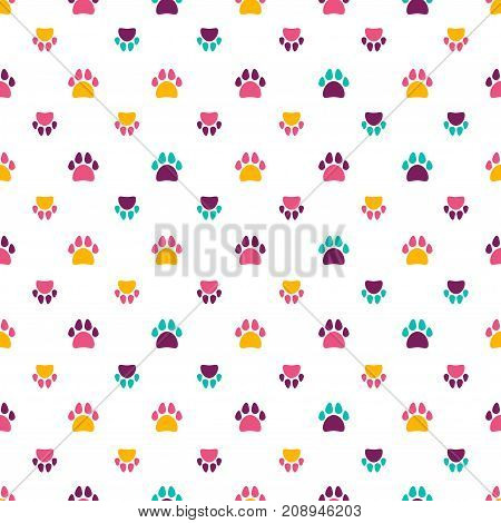 Seamless pattern with color animal footprint - pink, blue, violet and yellow. Vector illustration.