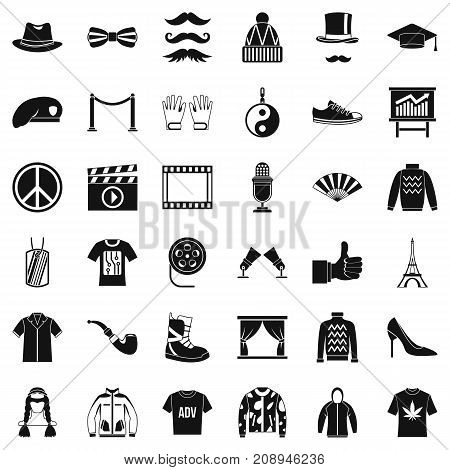 Vogue icons set. Simple style of 36 vogue vector icons for web isolated on white background