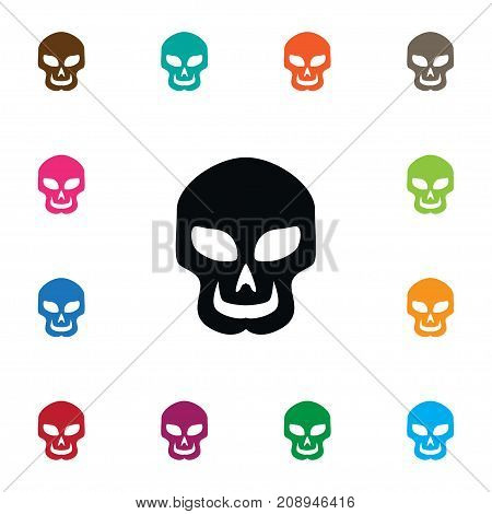 Skull Vector Element Can Be Used For Skull, Cranium, Creepy Design Concept.  Isolated Cranium Icon.