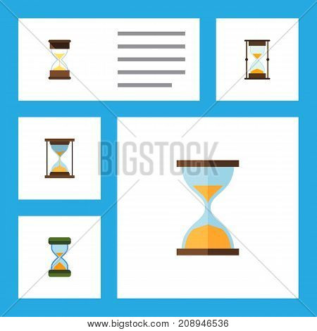 Flat Icon Timer Set Of Measurement, Sand Timer, Instrument Vector Objects