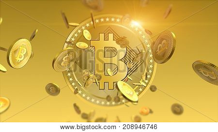 Virtual cryptocurrency Bitcoins falling coins close up on blurred background. Finance and banking concept.