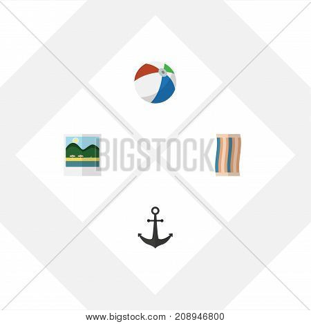 Flat Icon Beach Set Of Ship Hook, Sphere, Reminders And Other Vector Objects