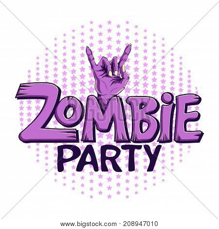 Logo zombie party, lettering. Zombie hand shows rock gesture, hand drawn vector illustration