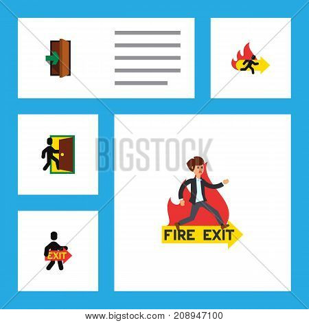 Flat Icon Emergency Set Of Exit, Entrance, Emergency And Other Vector Objects