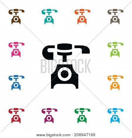 Old Phone Vector Element Can Be Used For Vintage, Phone, Telephone Design Concept.  Isolated Vintage Icon.