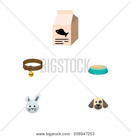 Flat Icon Pets Set Of Fish Nutrient, Hound Necklace, Puppy And Other Vector Objects