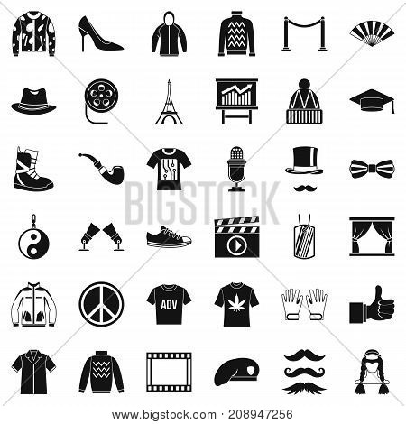 Image icons set. Simple style of 36 image vector icons for web isolated on white background