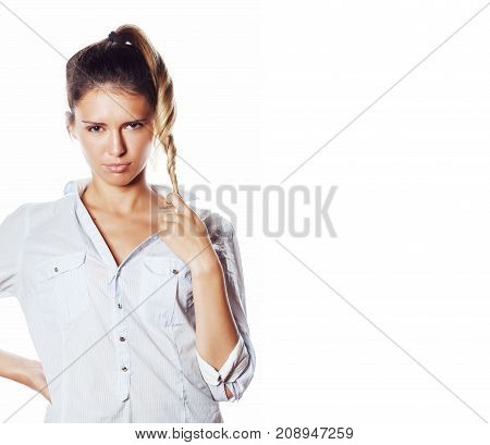 cute young pretty girl thinking on white background isolated close up smiling