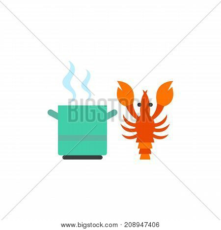 Vector icon of saucepan with boiling water and lobster. Cooking, restaurant, delicatessen. Seafood concept. Can be used for topics like food, gourmet, fishery