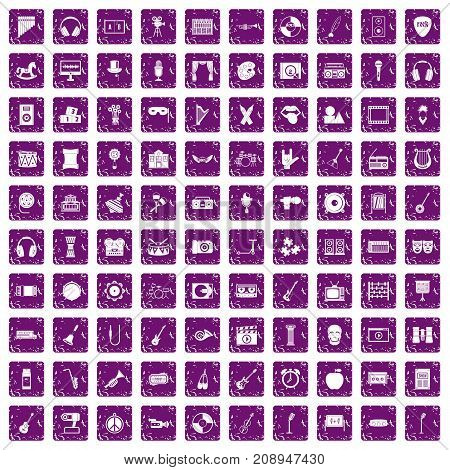 100 musical education icons set in grunge style purple color isolated on white background vector illustration