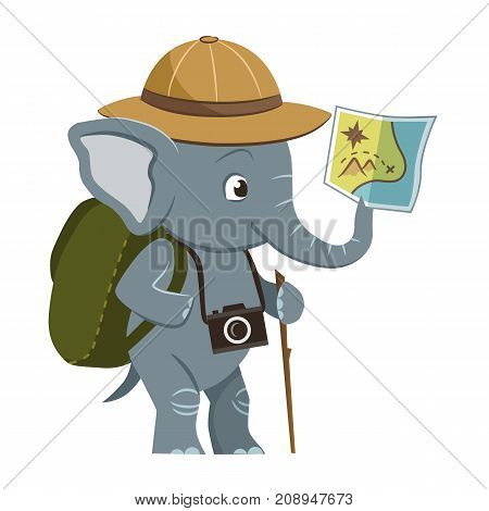 Vector cartoon character illustration of a cute little elephant wearing explorer hat backpack and photo camera holding a map in its trunk. Outdoor camping nature sightseeing exploring concept.
