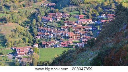 The village of Orle in the province of Asturias Spain in the Natural Park of Redes