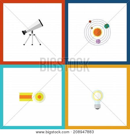 Flat Icon Study Set Of Milky Way, Lightbulb, Scope And Other Vector Objects