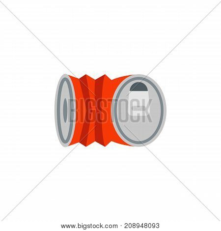 Vector icon of crashed can. Garbage, tinned can, soda. Canned food concept. Can be used for topics like food, ecology, drinks