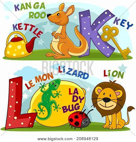 Colored cartoon English alphabet with letters K and L, with pictures to these letters a kettle, a kangaroo, a key, a lemon, a lizard, a ladybug and a lion.