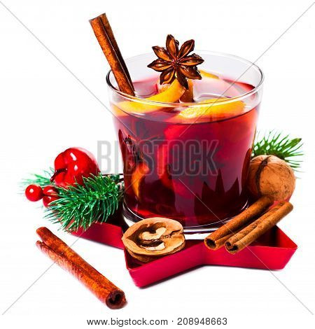 Christmas mulled wine isolated on white background. Red Hot wine or gluhwein with spices