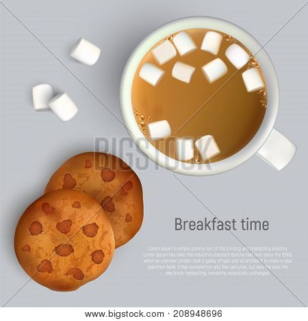 coffee with marshmallow and cookies with chocolate. Top view. Cup of coffee and cookies for breakfast, isolated vector illustration.