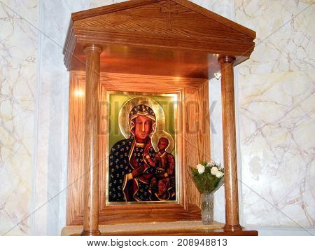 Jaffa Israel - March 14, 2011: The Icon of Madonna and Child in Saint Peter Church in old city .