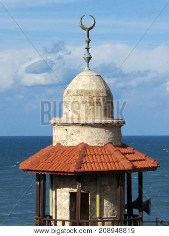 The top of the minaret of Al-Bahr Mosque in old city Jaffa Israel