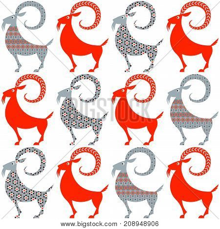 Scandinavian traditional Christmas decoration. Yule Goats with different patterns. Seamless background pattern. Vector illustration