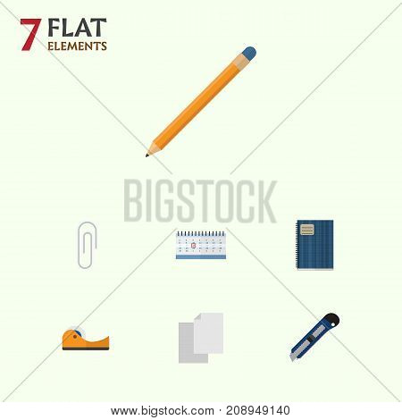 Flat Icon Equipment Set Of Fastener Page, Drawing Tool, Date Block And Other Vector Objects