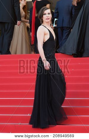 CANNES, FRANCE - MAY 20:  Milla Jovovich  attends the 'The Last Face' premiere. 69th annual Cannes Film Festival at the Palais des Festivals on May 20, 2016 in Cannes