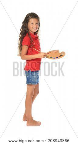 Little cute girl with brush and palette  on white background