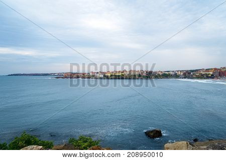 View of small resort town on seashore
