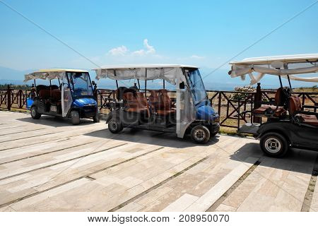Modern buggies parked at resort