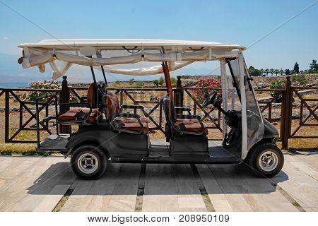 Modern buggy parked at resort