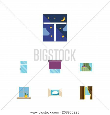 Flat Icon Frame Set Of Clean, Flowerpot, Curtain And Other Vector Objects