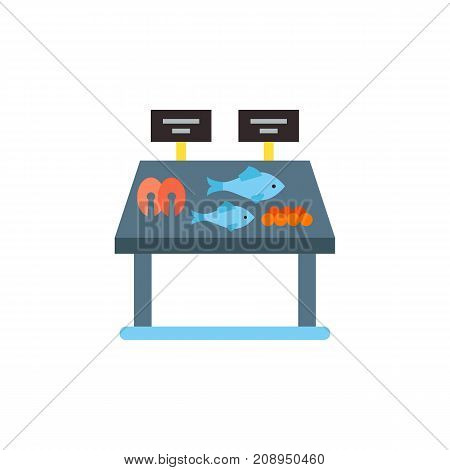 Vector icon of fish and caviar on shelve at supermarket. Store, fish market, fishery. Seafood concept. Can be used for topics like food industry, healthy eating, shopping