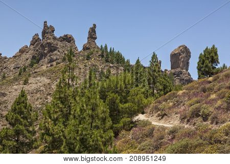 Summit of Roque Nublo, Grand Canary, with the spires Roque de San Jose and El Fraile