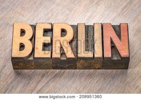 Berlin word abstract in vintage letterpress wood type