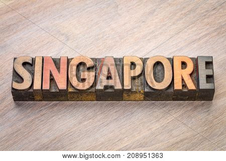 Singapore word abstract in vintage letterpress wood type