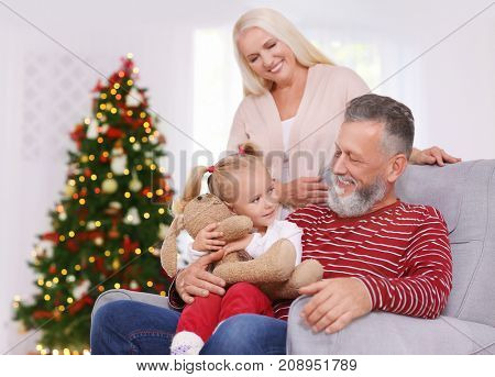 Happy senior couple with granddaughter celebrating Christmas at home