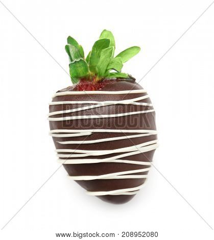 Tasty chocolate dipped strawberry on white  background