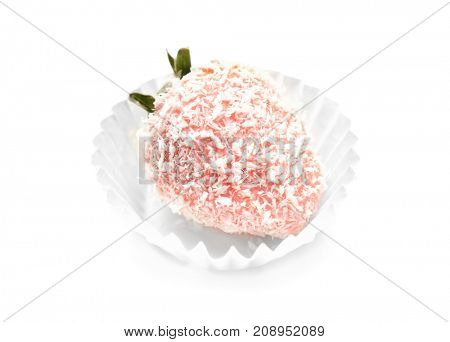 Tasty glazed strawberry covered with desiccated coconut, on white  background