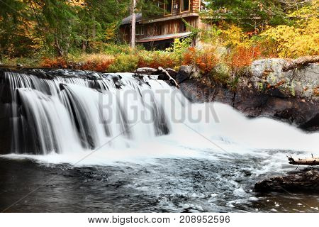 Water falls in rural Vermont in autumn time